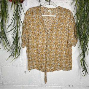 Cynthia Rowley Tie Front Yellow Floral Blouse XL